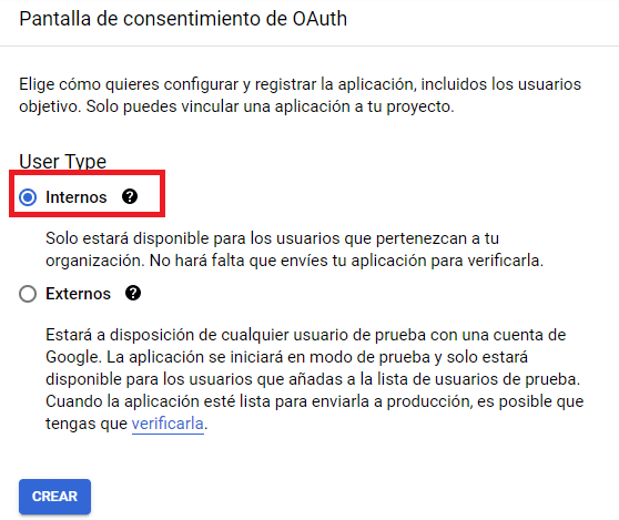 Consetimiento OAUTH API Google